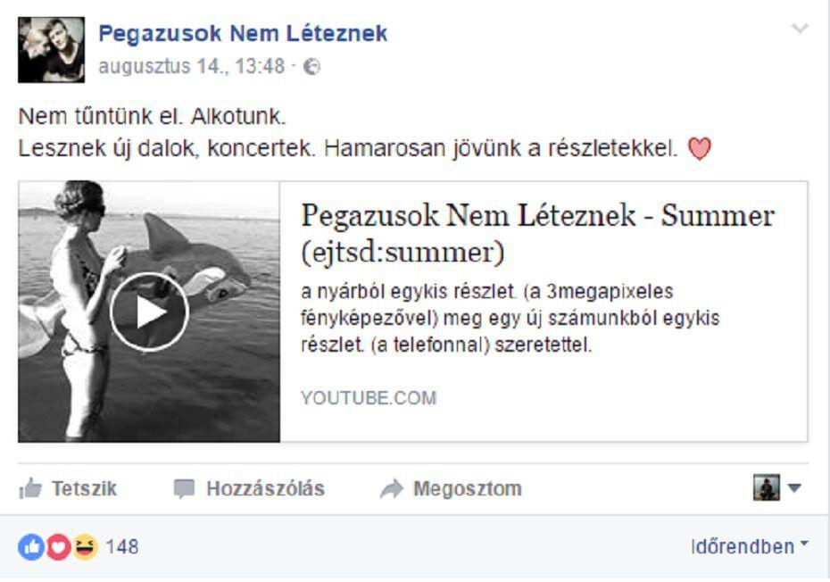 A Pegazusok Nem Léteznek Facebook-oldala