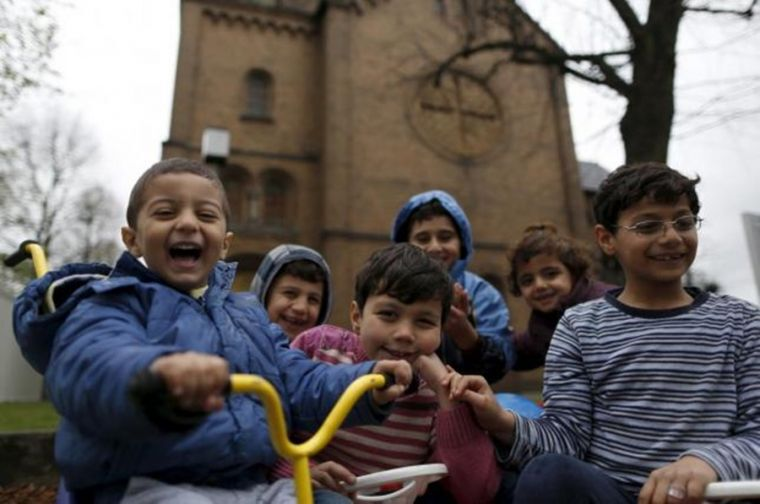 Migrant Syrian Kids In Front Of German Church