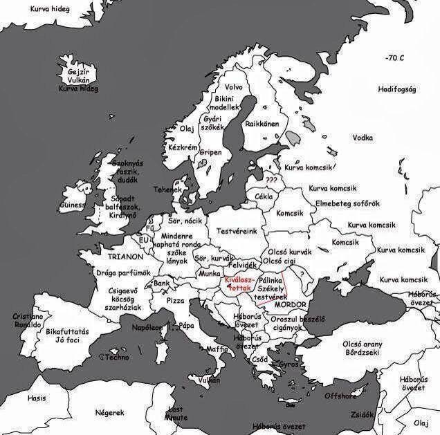 Magyar emberek eloiteletei terkep Europa