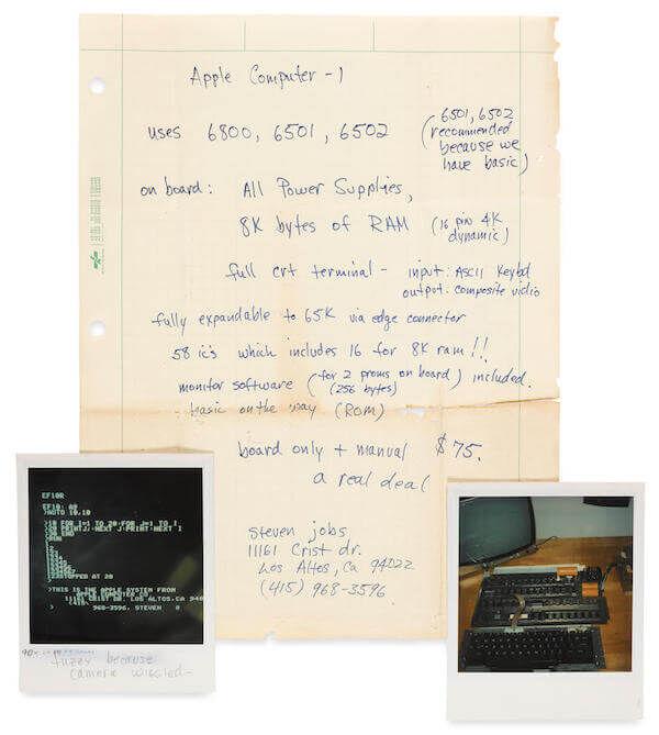 Steve Jobs Apple One Computer Ad Bonhams Auction Handwritten 2a