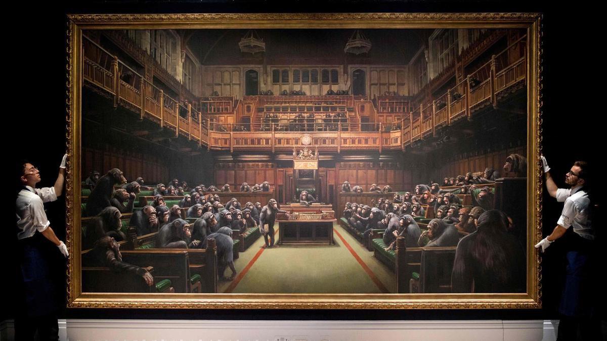 banksy csimpánsok parlament devolver parliament