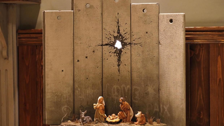 banksy betlehem karácsony képek