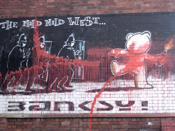 mild mild west defaced banksy bristolgraffiti