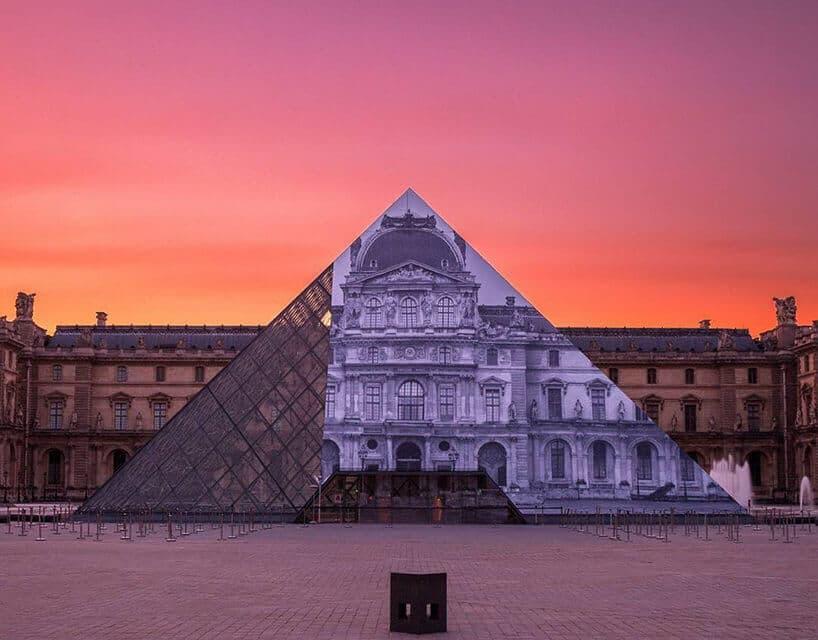 JR louvre museum installation paris designboom 02 818x640 1