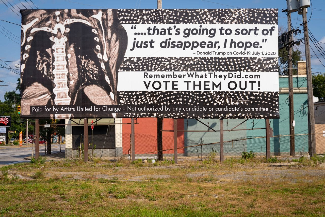 trump covidiotizmus oriasplakat kampany