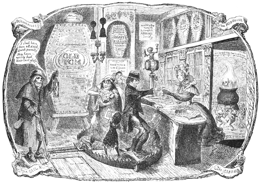 George Cruikshank The Gin Shop Illusztracio 1829
