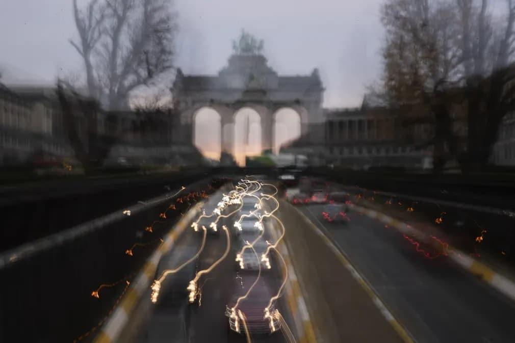 Brusszel Belgium Forgalom Nap Fotoja