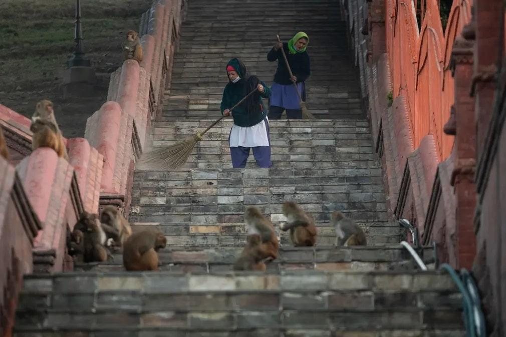 Kathmandu Nepal Templom Koronavirus Nap Fotoja
