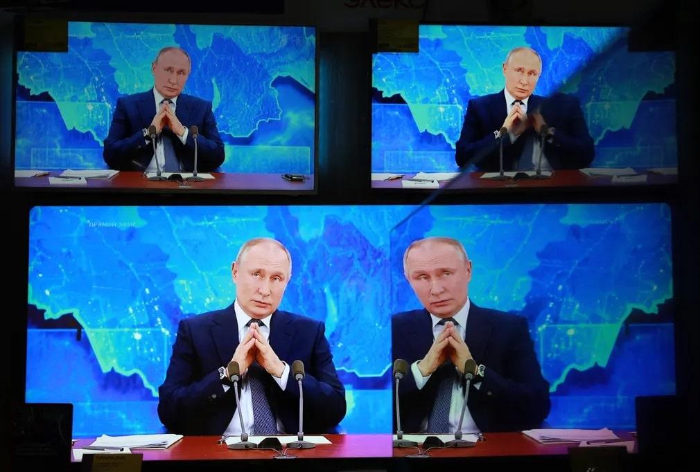 Oroszorszag Orosz Putyin Konferencia Kepernyo Nap Fotoja