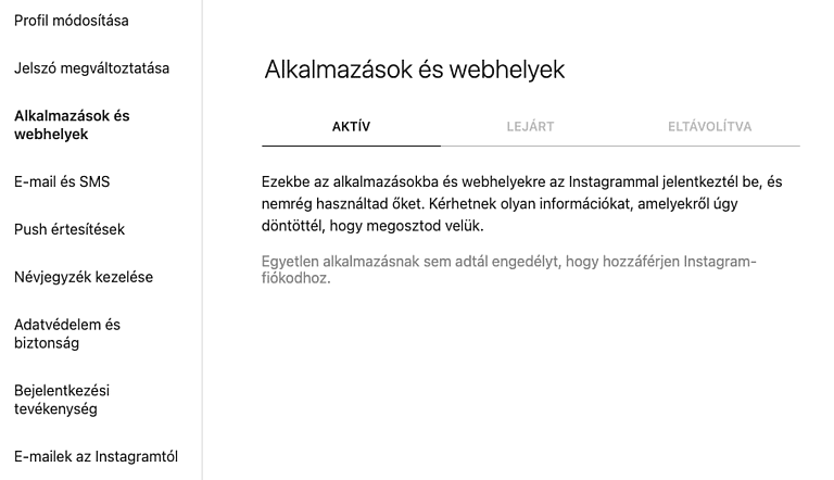 feltort instagram fiok alkalmazasok es webhelyek